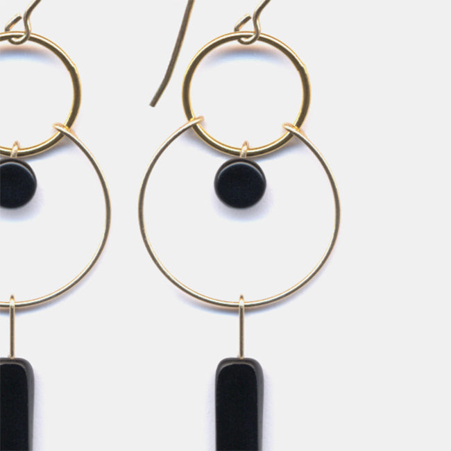 Black Rectangle Hoop Earrings, Earrings, I. Ronni Kappos, Collyer's Mansion - Collyer's Mansion