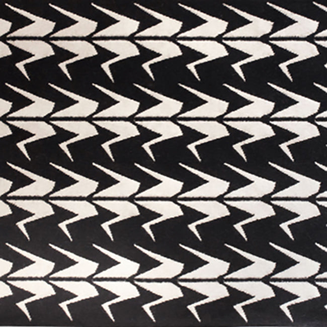 Black and White Crane Dhurrie Rug (2 size options)