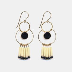 Black and White Fringe Hoop Earrings, Earrings, I. Ronni Kappos, Collyer's Mansion - Collyer's Mansion