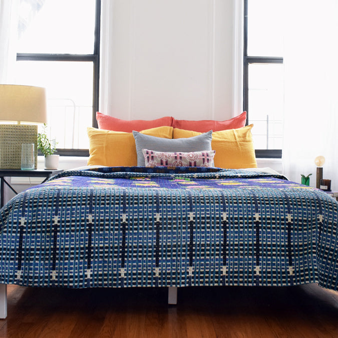 Tiger Blue Gudri Bed Cover, queen/king