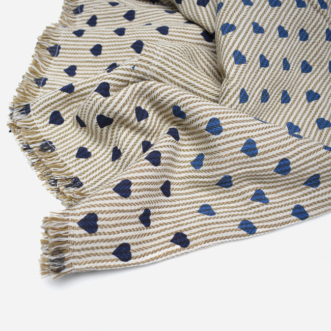 Blue Navy Khaki Green Heart Stripe Cotton Throw by Moismont at Collyer's Mansion