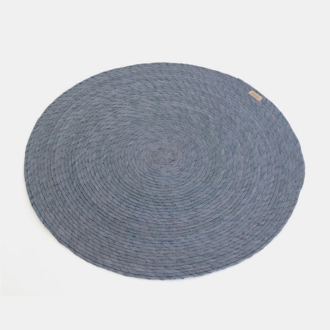Navy Round Woven Palm Placemat by Makaua at Collyer's Mansion