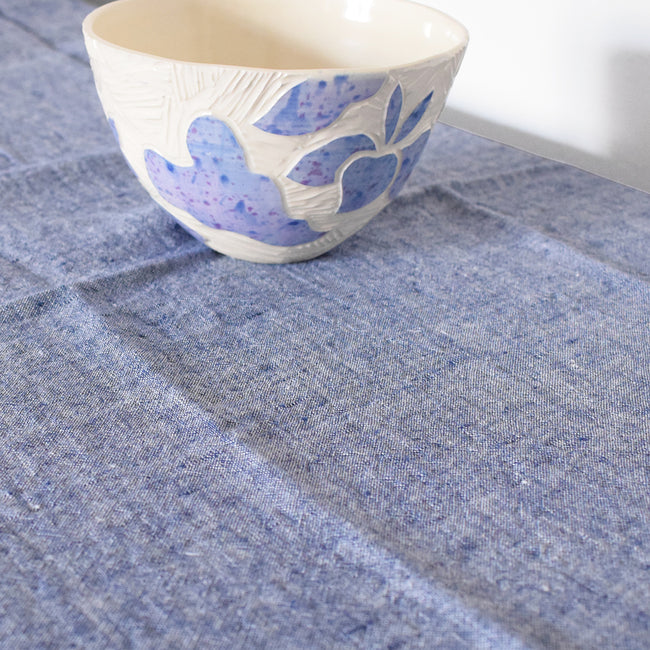 Linen Tablecloth, blue chambray