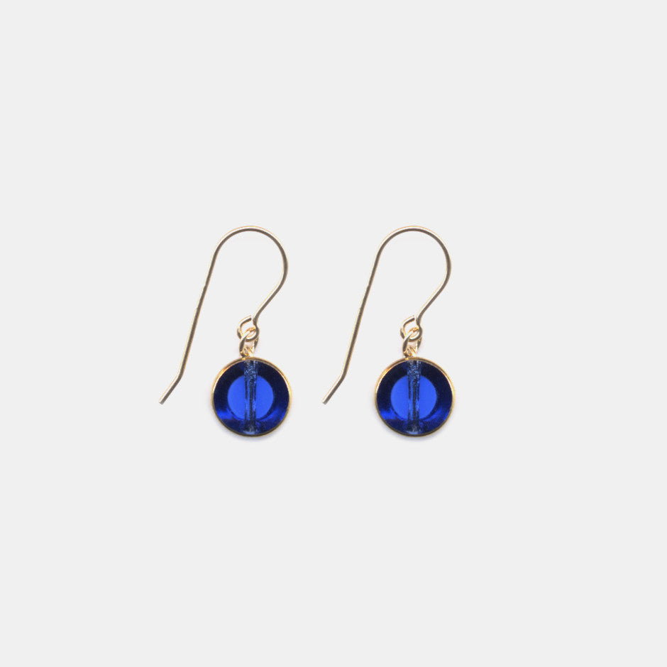 Blue Circle Drop Earrings