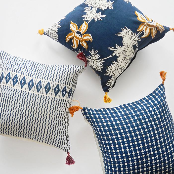 Devi Blue and Mustard Flower Pillow, square