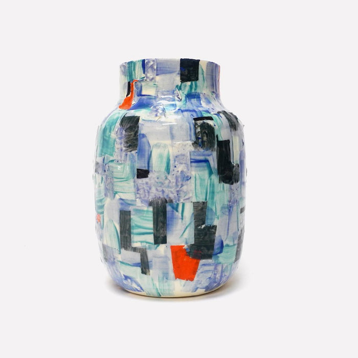 Blue Patchwork Painted Vase, Vase, Leigh Forsstrom, Collyer's Mansion - Collyer's Mansion