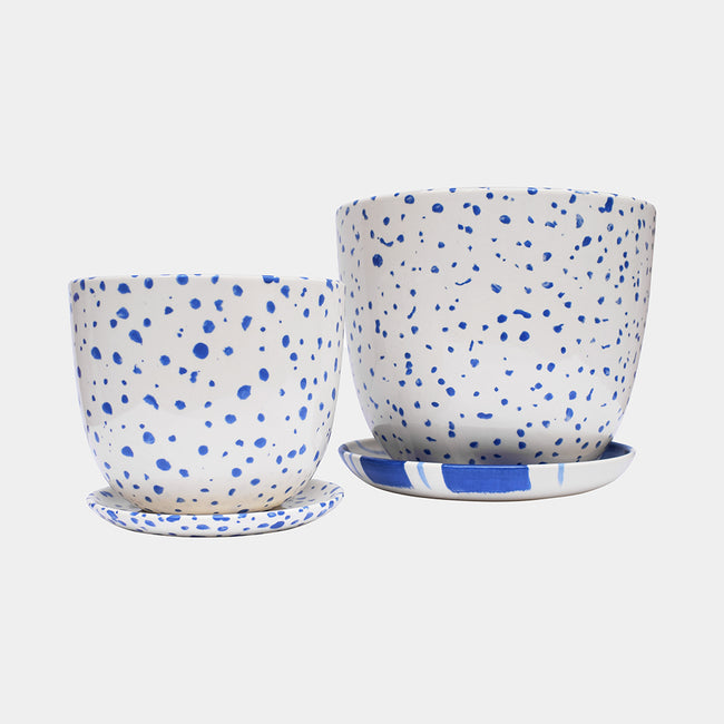 Dark Blue Speckled Planter