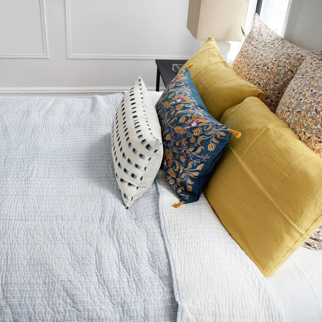 Linge Particulier Yellow Gold Standard Linen Pillowcase Sham with blue stripe quilt and curry flower euro shams for a colorful linen bedding look in honey gold - Collyer's Mansion