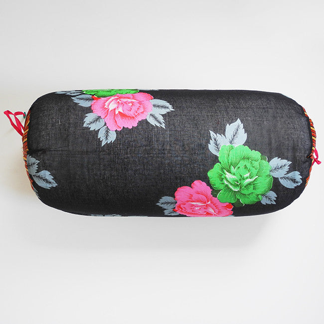 Black with Pink Flowers Bolster Pillow