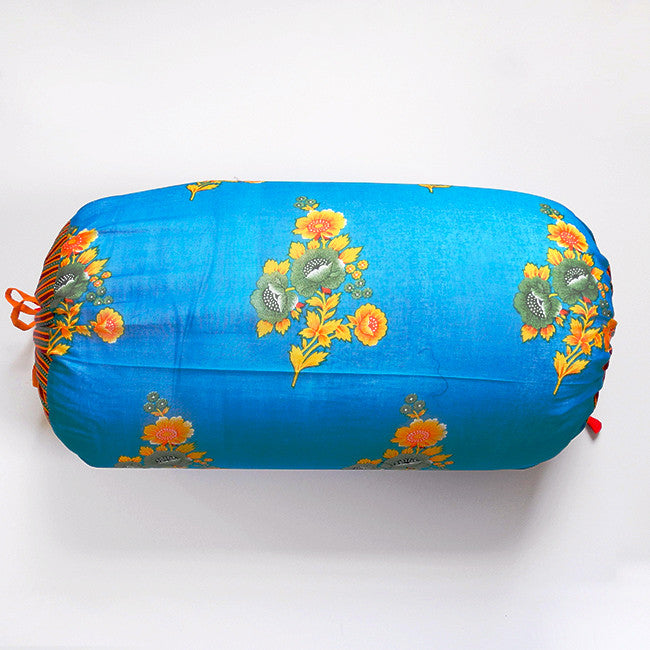 Turquoise with Yellow Flowers Bolster Pillow