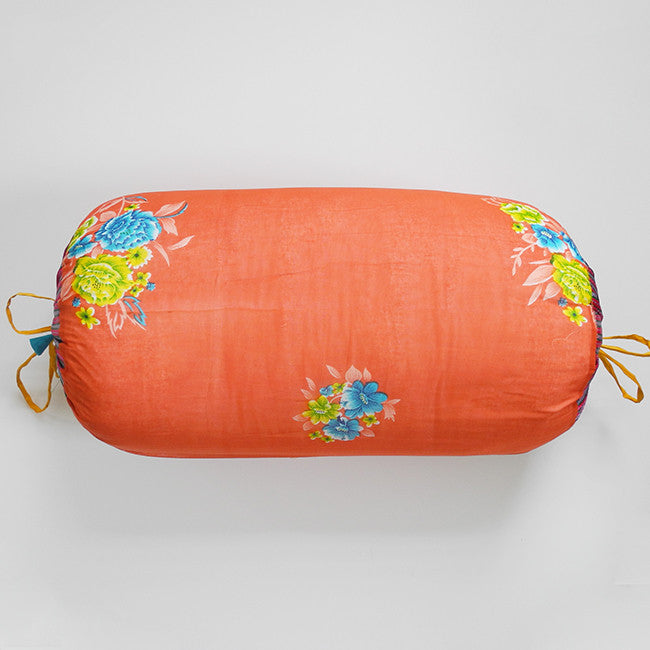 Coral with Blue Flowers Bolster Pillow