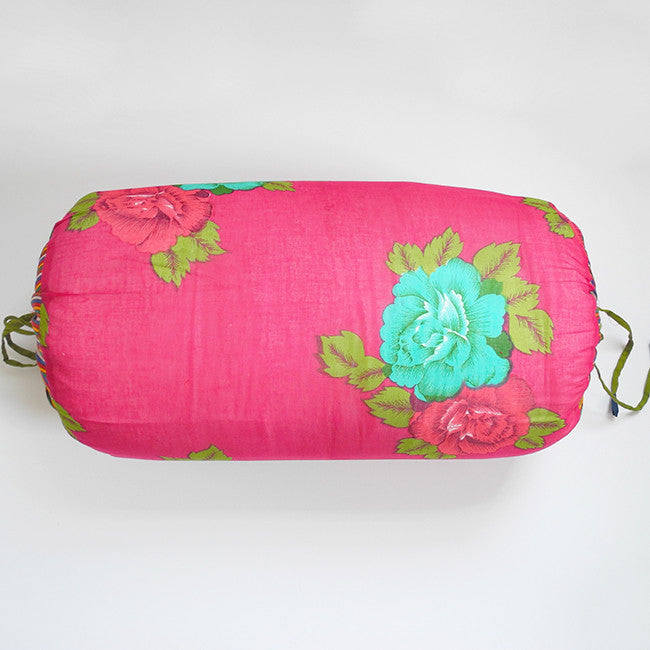 Fuchsia with Turquoise Flowers Bolster Pillow