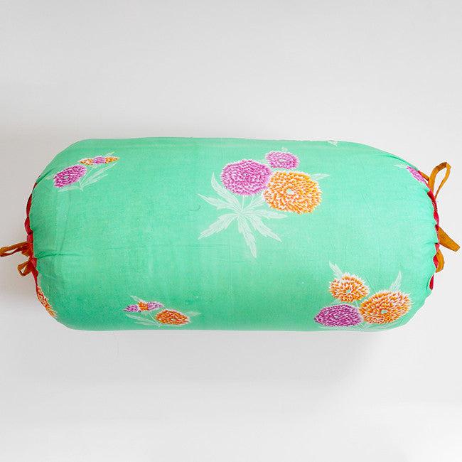 Green with Purple Flowers Bolster Pillow, Pillow, Lisa Corti, Collyer's Mansion - Collyer's Mansion