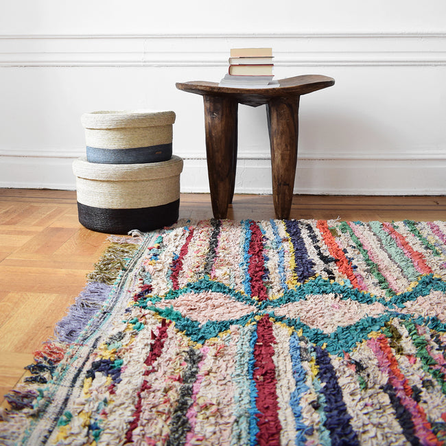 "Boucherouite Rug, 5'7"" x 7'3"", Rug, Le Nouvel Atlas, Collyer's Mansion - Collyer's Mansion"