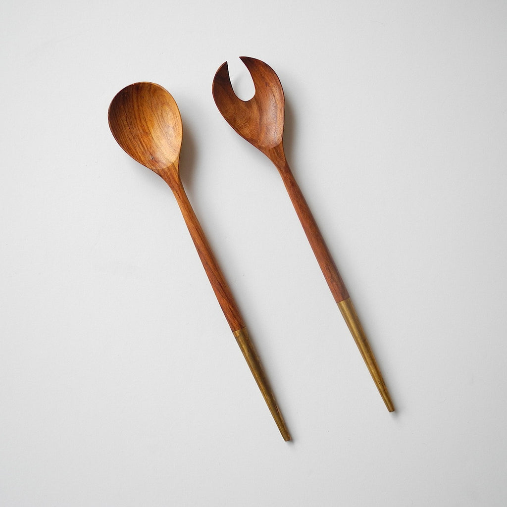 Brass Tipped Salad Servers