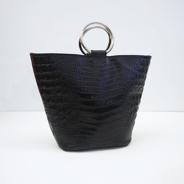 Addie Ring Bucket Tote, black