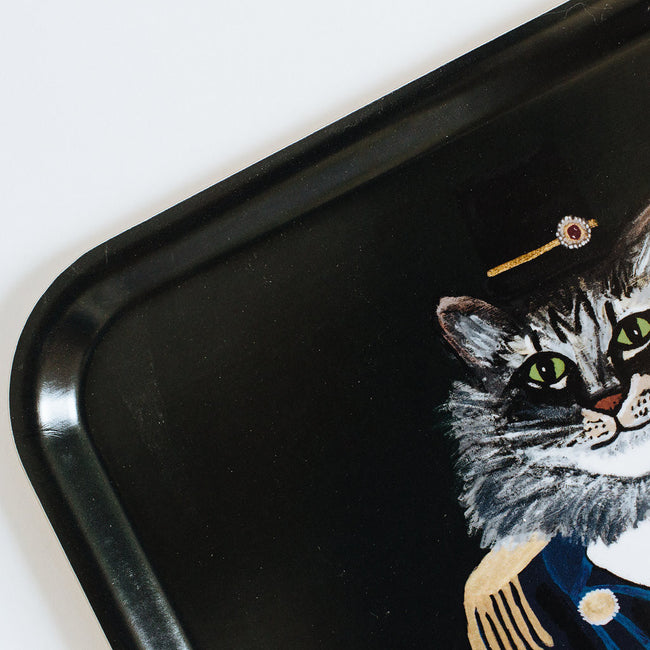 Rectangle designer tray in Scandinavian tray style with a black background and cat portrait for dining or home decor - Collyer's Mansion