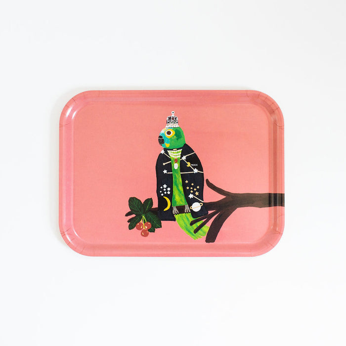 Rectangle designer tray in Scandinavian tray style with a pink background and parrot portrait for dining or home decor - Collyer's Mansion