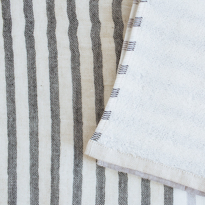 Yoshii Two Tone Stripe Bath Towel, charcoal