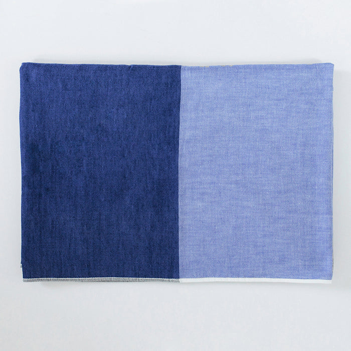 Yoshii Two Tone Chambray Bath Towel, blue