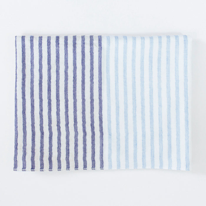 Yoshii Two Tone Stripe Bath Towel, blue
