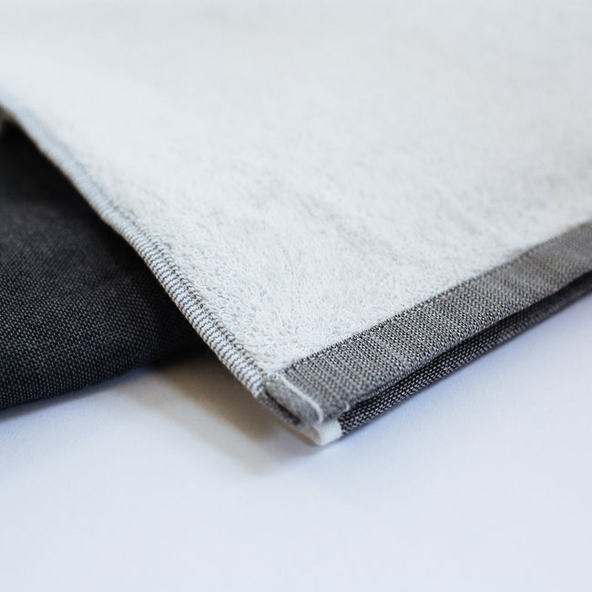Yoshii Two Tone Chambray Bath Towel, charcoal