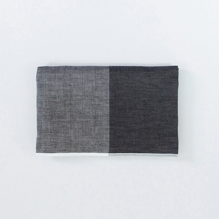 Yoshii Two Tone Chambray Hand Towel, charcoal
