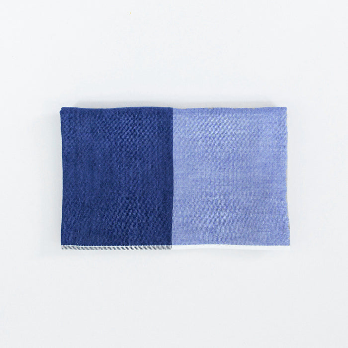 Yoshii Two Tone Chambray Hand Towel, blue