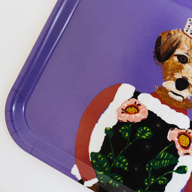 Rectangle designer tray in Scandinavian tray style with a purple background and dog portrait for dining or home decor - Collyer's Mansion