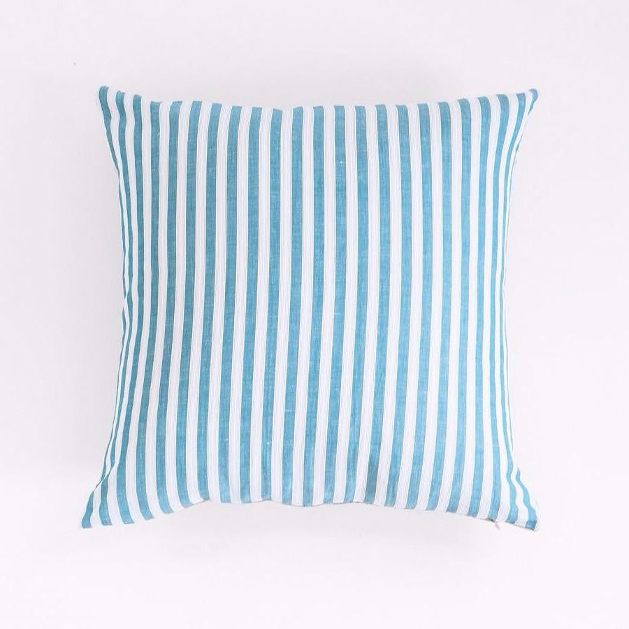 Teal Stripe Pillow, square