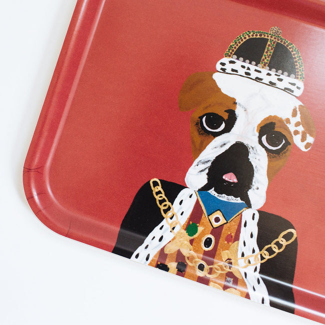 Rectangle designer tray in Scandinavian tray style with a red background and dog portrait for dining or home decor - Collyer's Mansion