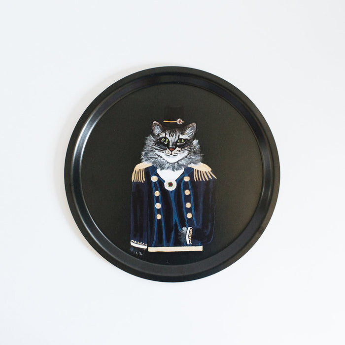 Round designer tray in Scandinavian tray style with a black background and cat portrait for dining or home decor - Collyer's Mansion