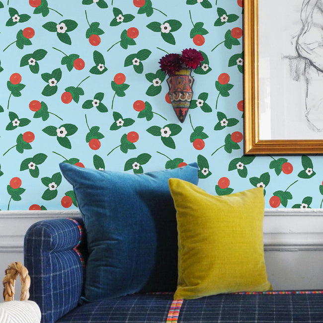 Blue orange blossom print wallpaper in removable wallpaper and traditional wallpaper with green and white floral pattern - Collyer's Mansion