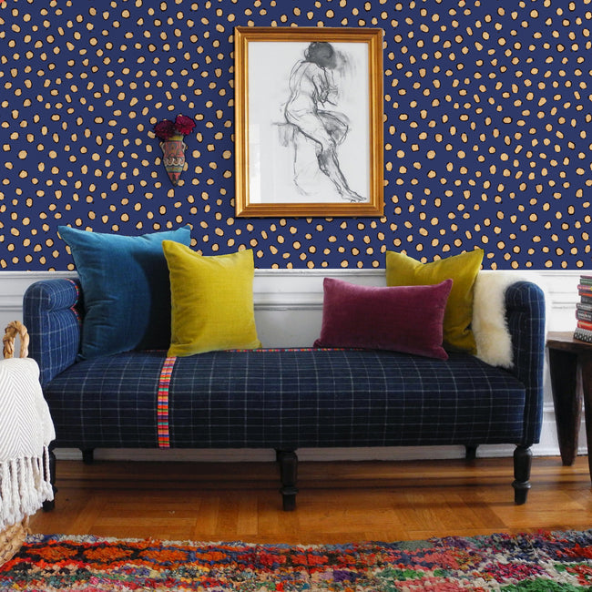 Navy Leopard Wallpaper Collyer S Mansion Collection