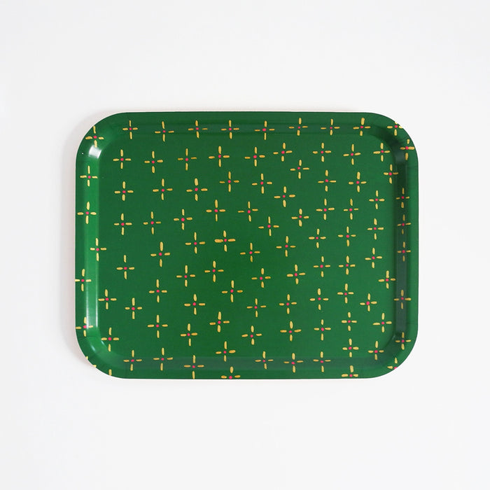 Rectangle designer tray in Scandinavian tray style in green vintage wallpaper print for dining or home decor - Collyer's Mansion