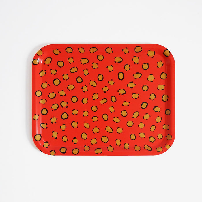 Rectangle designer tray in Scandinavian tray style in orange coral with animal print for dining or home decor - Collyer's Mansion