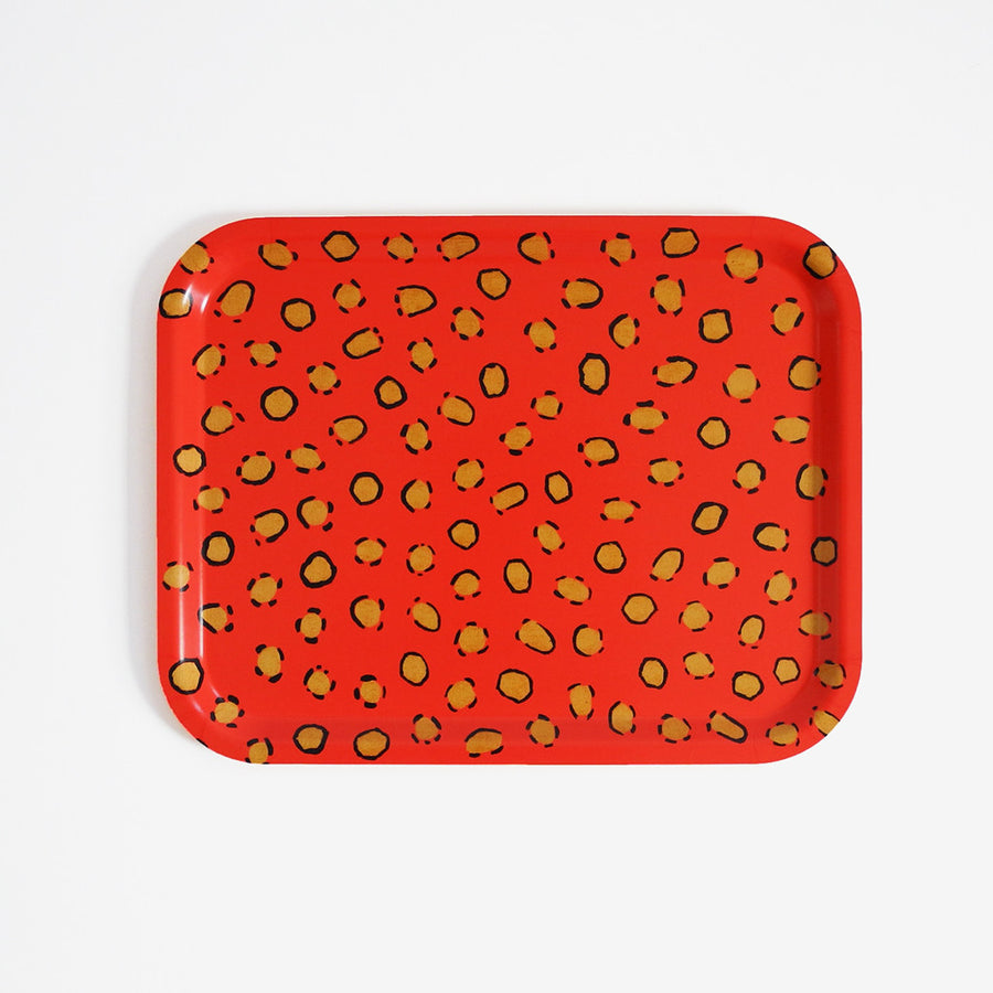 Coral Leopard Wallpaper Tray, medium, Tray, Collyer's Mansion Collection, Collyer's Mansion - Collyer's Mansion