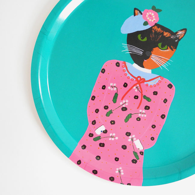 Round designer tray in Scandinavian tray style with a teal background and tortoiseshell cat portrait for dining or home decor - Collyer's Mansion