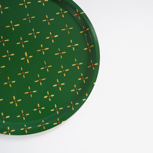 Round designer tray in Scandinavian tray style in green vintage wallpaper print for dining or home decor - Collyer's Mansion