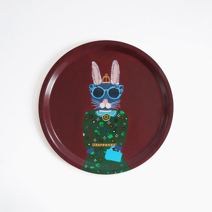 Round designer tray in Scandinavian tray style with a burgundy background and bunny rabbit portrait for dining or home decor - Collyer's Mansion