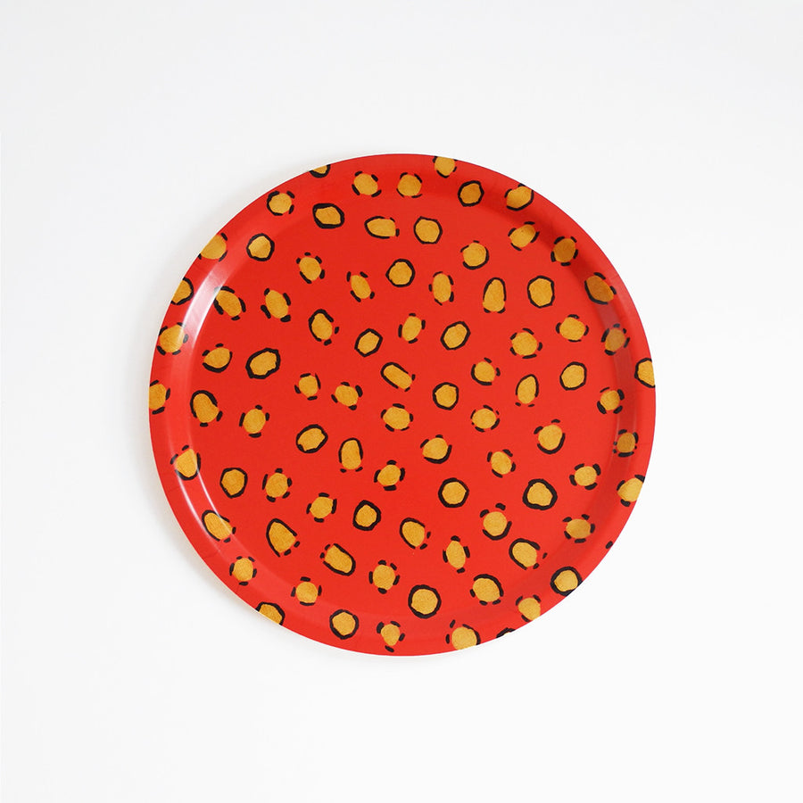 Round designer tray in Scandinavian tray style in orange coral with animal print for dining or home decor - Collyer's Mansion