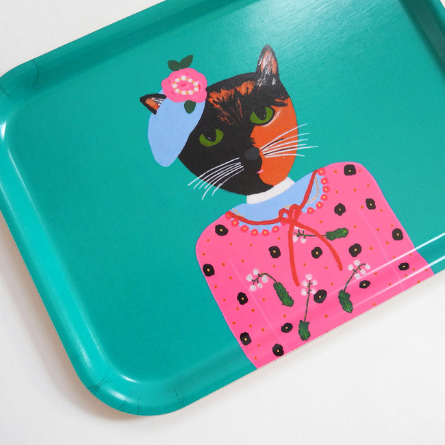 Rectangle designer tray in Scandinavian tray style with a teal background and tortoiseshell cat portrait for dining or home decor - Collyer's Mansion
