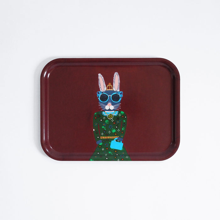 Rectangle designer tray in Scandinavian tray style with a burgundy background and bunny rabbit portrait for dining or home decor - Collyer's Mansion