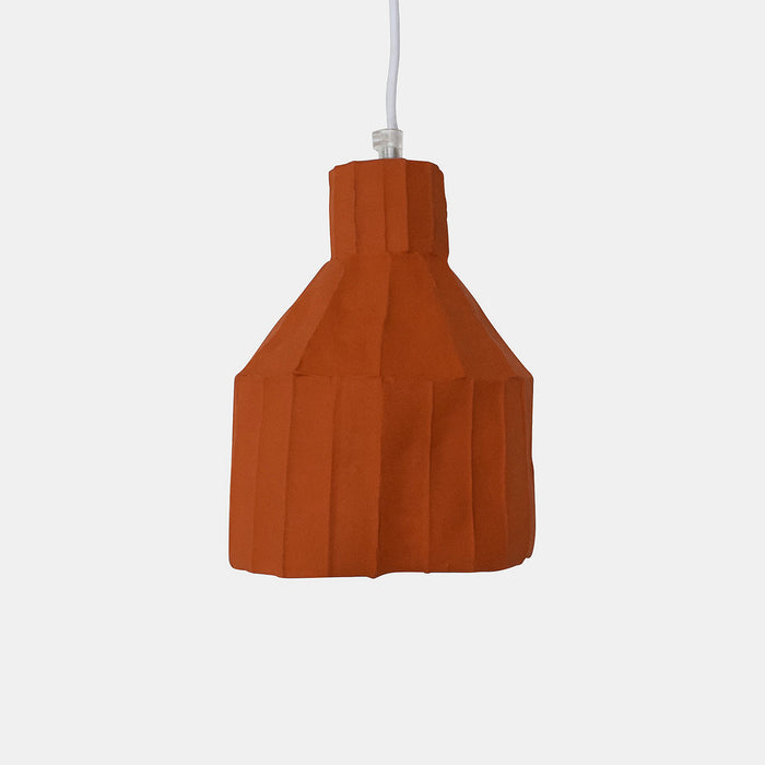 Burnt Orange Cylinder Paper Clay Pendant