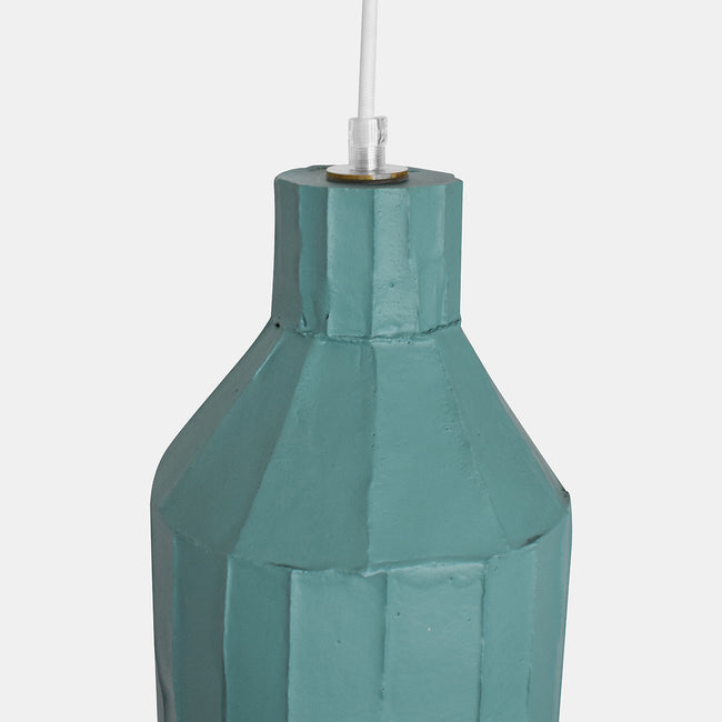Teal Cylinder Paper Clay Pendant