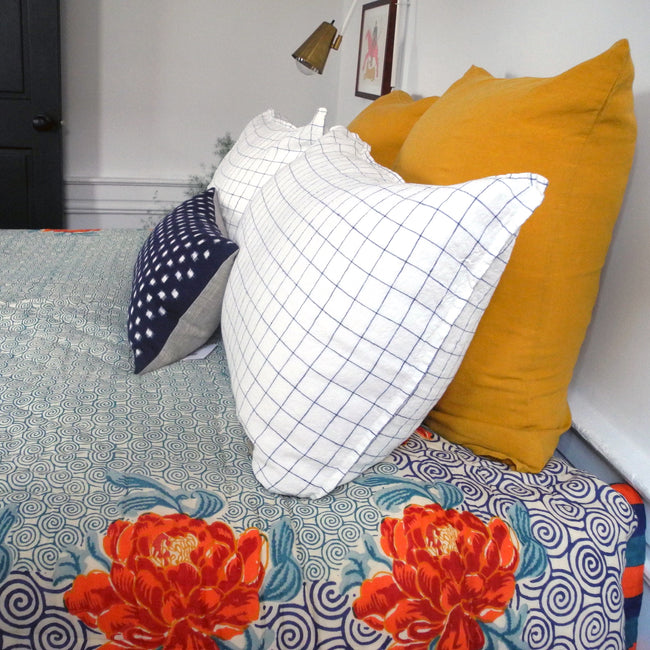 Linge Particulier Honey Yellow Euro Linen Pillowcase Sham with a Lisa Corti quilt and navy check pillowcases for a colorful linen bedding look in mustard yellow - Collyer's Mansion