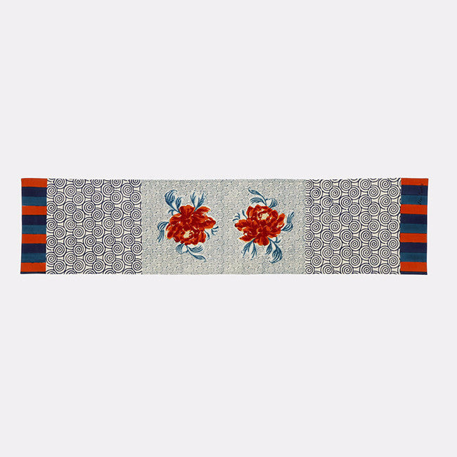 Camelia Peacock Table Runner