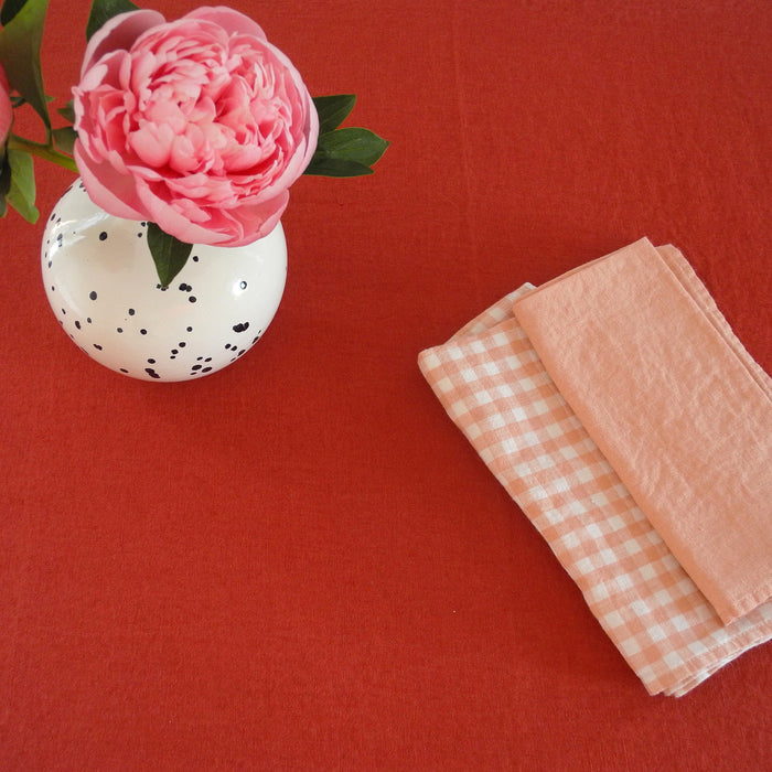 Linen Tablecloth, carmine red
