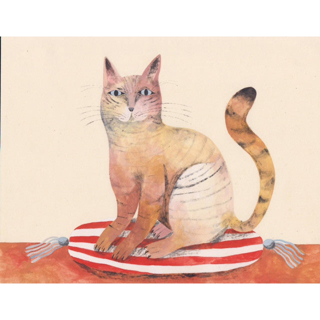 Cat on a Striped Pillow, Art, Audrey Helen Weber, Collyer's Mansion - Collyer's Mansion