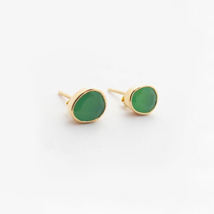 Chrysoprase Studs, Earrings, Liz Phillips, Collyer's Mansion - Collyer's Mansion